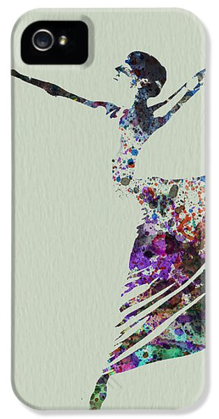 Theater iPhone 5 Cases - Ballerina dancing watercolor iPhone 5 Case by Naxart Studio