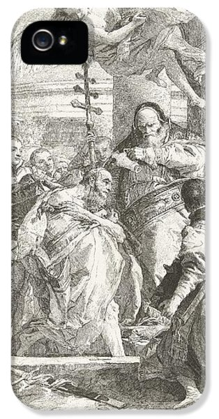 Baptism iPhone 5 Cases - Baptism of Constantine the Great  iPhone 5 Case by Giovanni Domenico Tiepolo