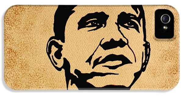 Barack Obama Original Coffee Painting IPhone 5 / 5s Case by Georgeta  Blanaru