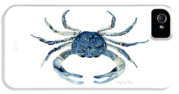 Blue Crab iPhone 5 Cases - Beach House Sea Life Blue Crab iPhone 5 Case by Audrey Jeanne Roberts