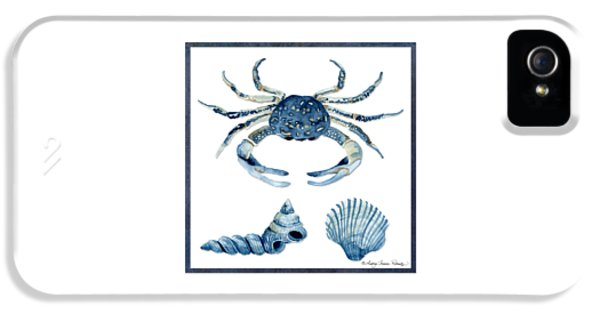 Blue Crab iPhone 5 Cases - Beach House Sea Life Crab Turban Shell n Scallop iPhone 5 Case by Audrey Jeanne Roberts