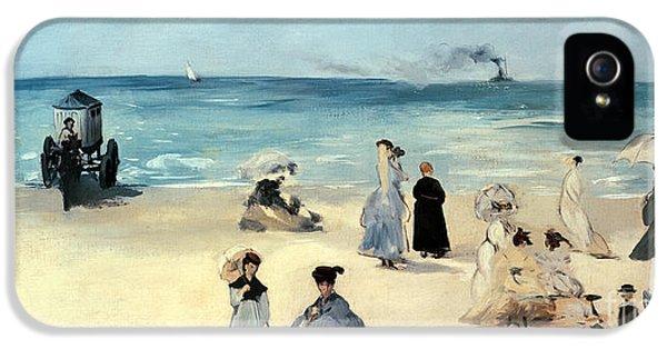 Hut iPhone 5 Cases - Beach Scene iPhone 5 Case by Edouard Manet
