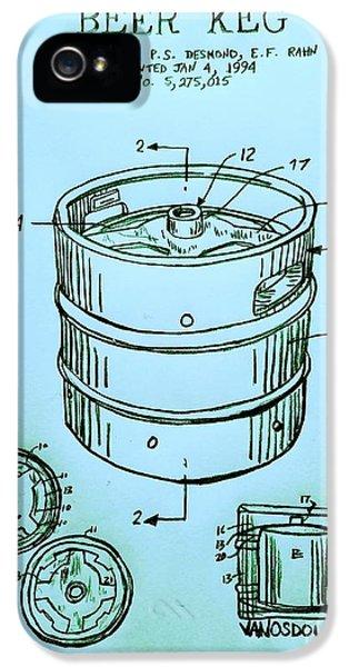 Beer Keg 1994 Patent - Blue IPhone 5 / 5s Case by Scott D Van Osdol