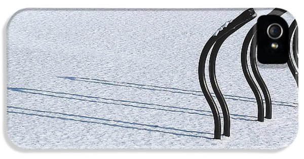 Bicycle iPhone 5 Cases - Bike Racks in Snow iPhone 5 Case by Steve Somerville