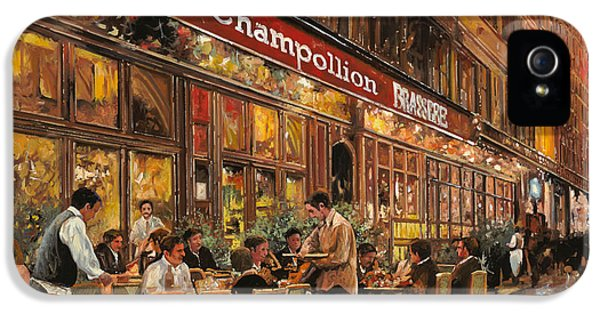 Street Scene iPhone 5 Cases - Bistrot Champollion iPhone 5 Case by Guido Borelli