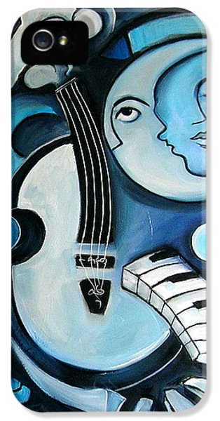 Man iPhone 5 Cases - Black and Bleu iPhone 5 Case by Valerie Vescovi