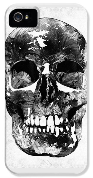 Macabre iPhone 5 Cases - Black And White Skull by Sharon Cummings iPhone 5 Case by Sharon Cummings