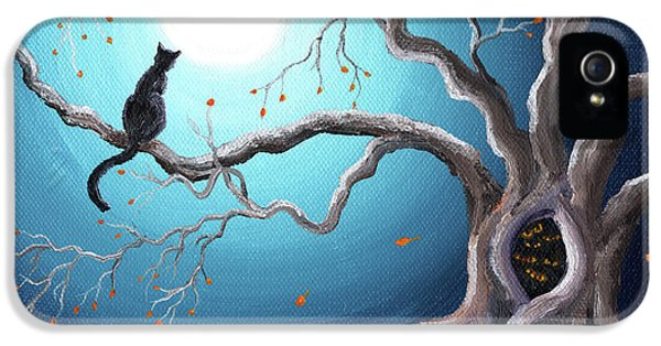 Spooky iPhone 5 Cases - Black Cat in a Haunted Tree iPhone 5 Case by Laura Iverson