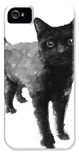 Black Cat Watercolor Painting  IPhone 5 / 5s Case by Joanna Szmerdt