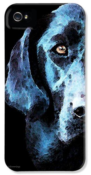 Hunting iPhone 5 Cases - Black Labrador Retriever Dog Art - Hunter iPhone 5 Case by Sharon Cummings