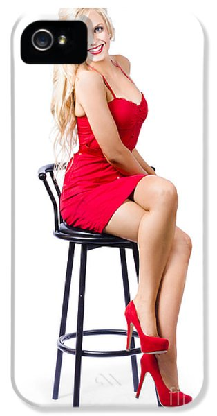 Barstools iPhone 5 Cases - Blond female bistro babe on bar stool in red dress iPhone 5 Case by Ryan Jorgensen