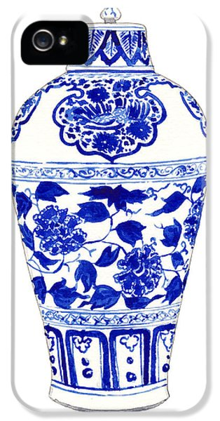 Blue And White Ginger Jar Chinoiserie Jar 1 IPhone 5 / 5s Case by Laura Row