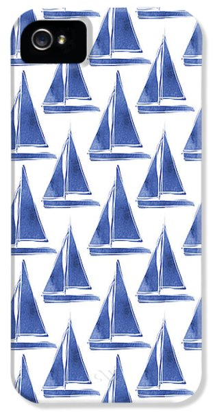 Blue And White Sailboats Pattern- Art By Linda Woods IPhone 5 / 5s Case by Linda Woods