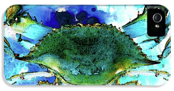Blue Crab iPhone 5 Cases - Blue Crab - Abstract Seafood Painting iPhone 5 Case by Sharon Cummings
