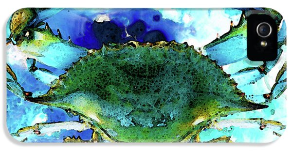 Blue Crab - Abstract Seafood Painting IPhone 5 / 5s Case by Sharon Cummings