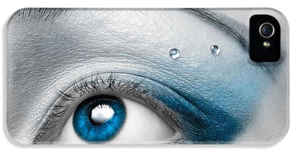 Eye iPhone 5 Cases - Blue Female Eye Macro with Artistic Make-up iPhone 5 Case by Oleksiy Maksymenko