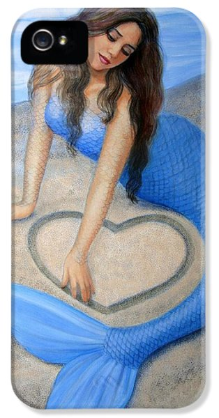 Beauty iPhone 5 Cases - Blue Mermaids Heart iPhone 5 Case by Sue Halstenberg