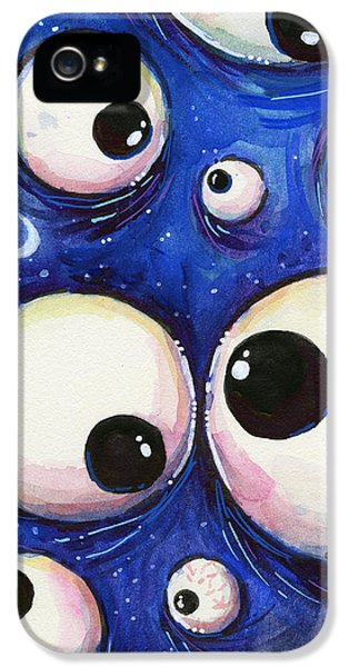 Eyeball iPhone 5 Cases - Blue Monster Eyes iPhone 5 Case by Olga Shvartsur
