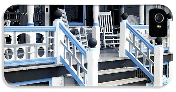Down In The Garden iPhone 5 Cases - Blue Railing in Ocean Grove iPhone 5 Case by John Rizzuto