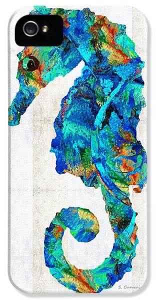 Blue Seahorse Art By Sharon Cummings IPhone 5 / 5s Case by Sharon Cummings