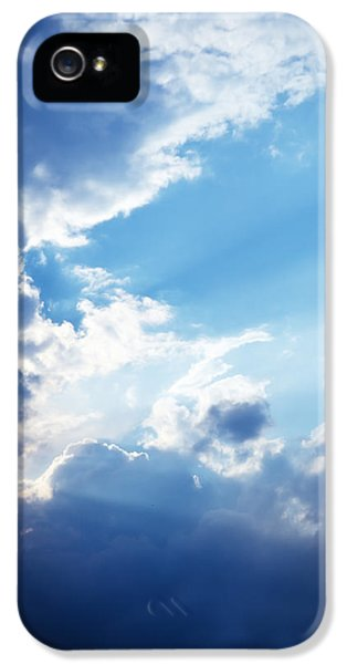 Blue Sky And Clouds With Sun Light IPhone 5 / 5s Case by Jozef Klopacka