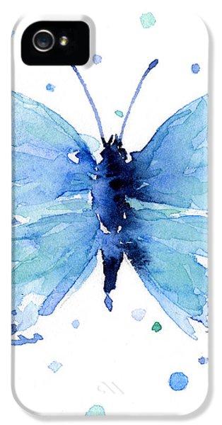 Blue Watercolor Butterfly IPhone 5 / 5s Case by Olga Shvartsur