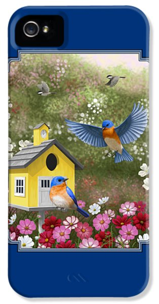 Bluebirds And Yellow Birdhouse IPhone 5 / 5s Case by Crista Forest