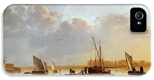 Boats iPhone 5 Cases - Boats on a River iPhone 5 Case by Aelbert Cuyp