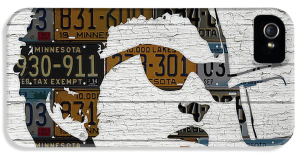 Bob Dylan Minnesota Native Recycled Vintage License Plate Portrait On White Wood IPhone 5 / 5s Case by Design Turnpike