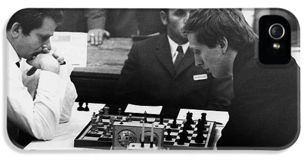 Chessboard iPhone 5 Cases - Bobby Fischer (1943-2008) iPhone 5 Case by Granger