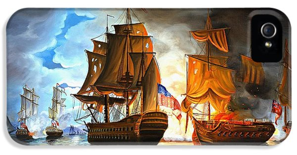Sea iPhone 5 Cases - Bonhomme Richard engaging The Serapis in Battle iPhone 5 Case by Paul Walsh