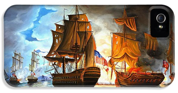 Bonhomme Richard Engaging The Serapis In Battle IPhone 5 / 5s Case by Paul Walsh