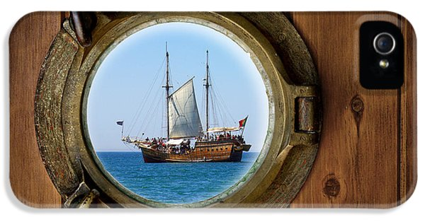 Aged iPhone 5 Cases - Brass Porthole iPhone 5 Case by Carlos Caetano
