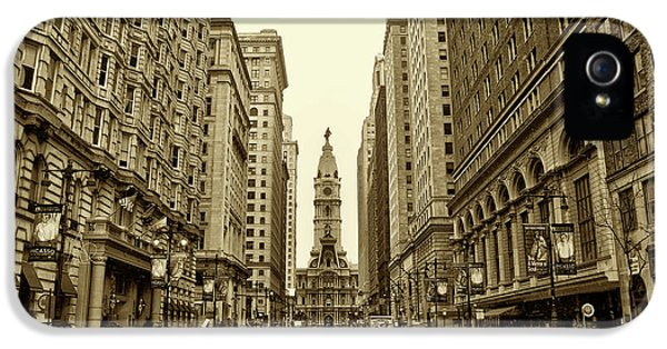 City iPhone 5 Cases - Broad Street Facing Philadelphia City Hall in Sepia iPhone 5 Case by Bill Cannon