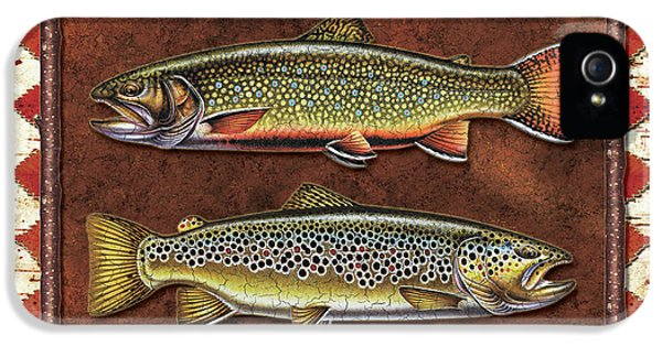 Fly iPhone 5 Cases - Brook and Brown Trout Lodge iPhone 5 Case by JQ Licensing