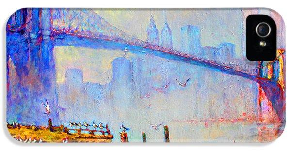 Brooklyn Bridge In A Foggy Morning IPhone 5 / 5s Case by Ylli Haruni