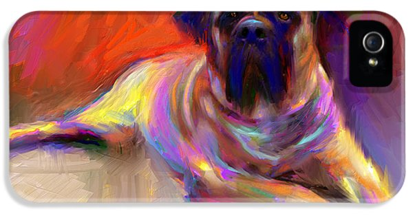 Bulls iPhone 5 Cases - Bullmastiff dog painting iPhone 5 Case by Svetlana Novikova