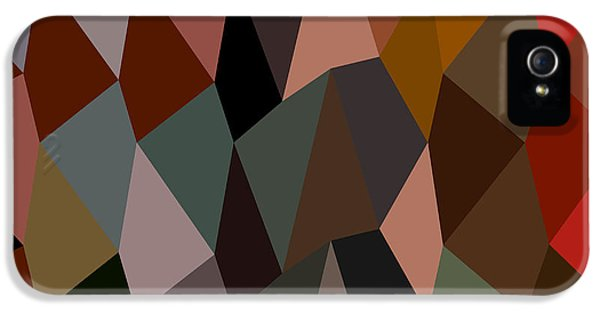 Burnt Umber iPhone 5 Cases - Burnt Umber Abstract Low Polygon Background iPhone 5 Case by Aloysius Patrimonio