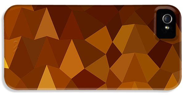 Burnt Umber iPhone 5 Cases - Burnt Umber Brown Abstract Low Polygon Background iPhone 5 Case by Aloysius Patrimonio