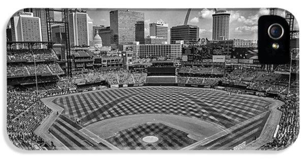 Busch Stadium St. Louis Cardinals Black White Ballpark Village IPhone 5 / 5s Case by David Haskett