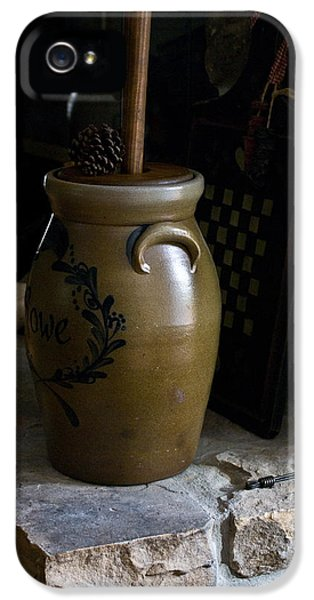 Checker Board iPhone 5 Cases - Butter Churn on Hearth Still Life iPhone 5 Case by Douglas Barnett