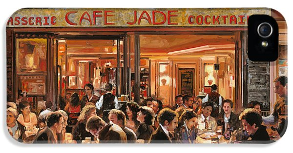 Street Scene iPhone 5 Cases - Cafe Jade iPhone 5 Case by Guido Borelli