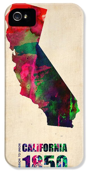 World Map iPhone 5 Cases - California Watercolor Map iPhone 5 Case by Naxart Studio