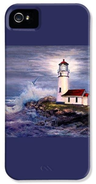 Cape Blanco  Lighthouse On Rocky Shores IPhone 5 / 5s Case by Regina Femrite