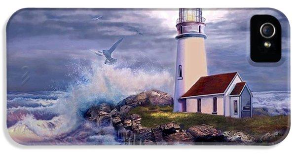 Oregon Coast Landscapes iPhone 5 Cases - Cape Blanco Oregon Lighthouse on Rocky Shores iPhone 5 Case by Gina Femrite