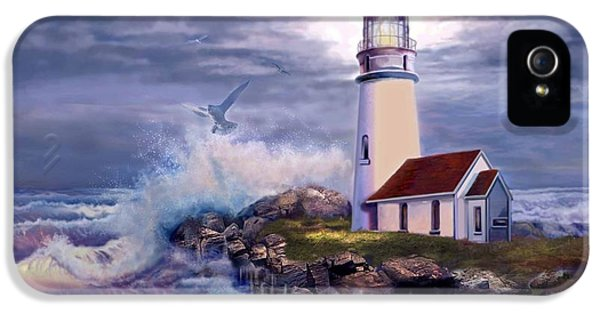 Lighthouse iPhone 5 Cases - Cape Blanco Oregon Lighthouse on Rocky Shores iPhone 5 Case by Gina Femrite