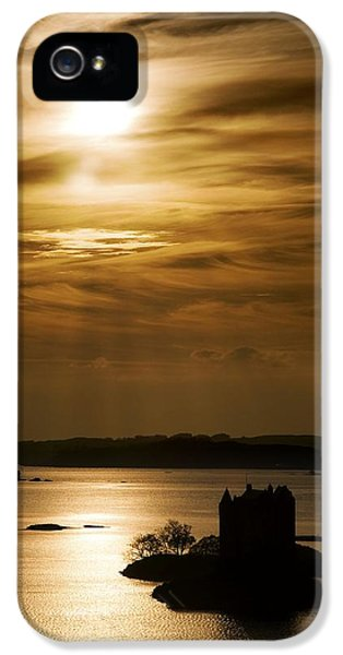 Castle iPhone 5 Cases - Castle Stalker At Sunset, Loch Laich iPhone 5 Case by John Short