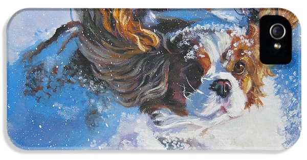 Realism iPhone 5 Cases - Cavalier King Charles Spaniel blenheim in snow iPhone 5 Case by L A Shepard