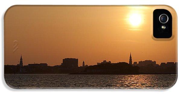 Charleston iPhone 5 Cases - Charleston South Carolina Skyline Sunset iPhone 5 Case by Dustin K Ryan