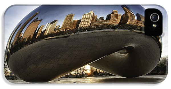Glass iPhone 5 Cases - Chicago Cloud Gate at Sunrise iPhone 5 Case by Sebastian Musial